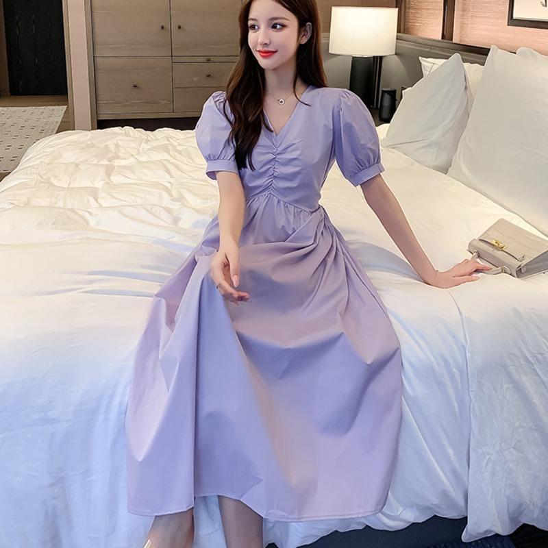 Повседневные платья Женщины Элегантные Drawstring V-образным вырезом Длинные рукава Корейские Сплошные Vestidos 2021 Летние А-Лентовое Платье Ограбление Femme