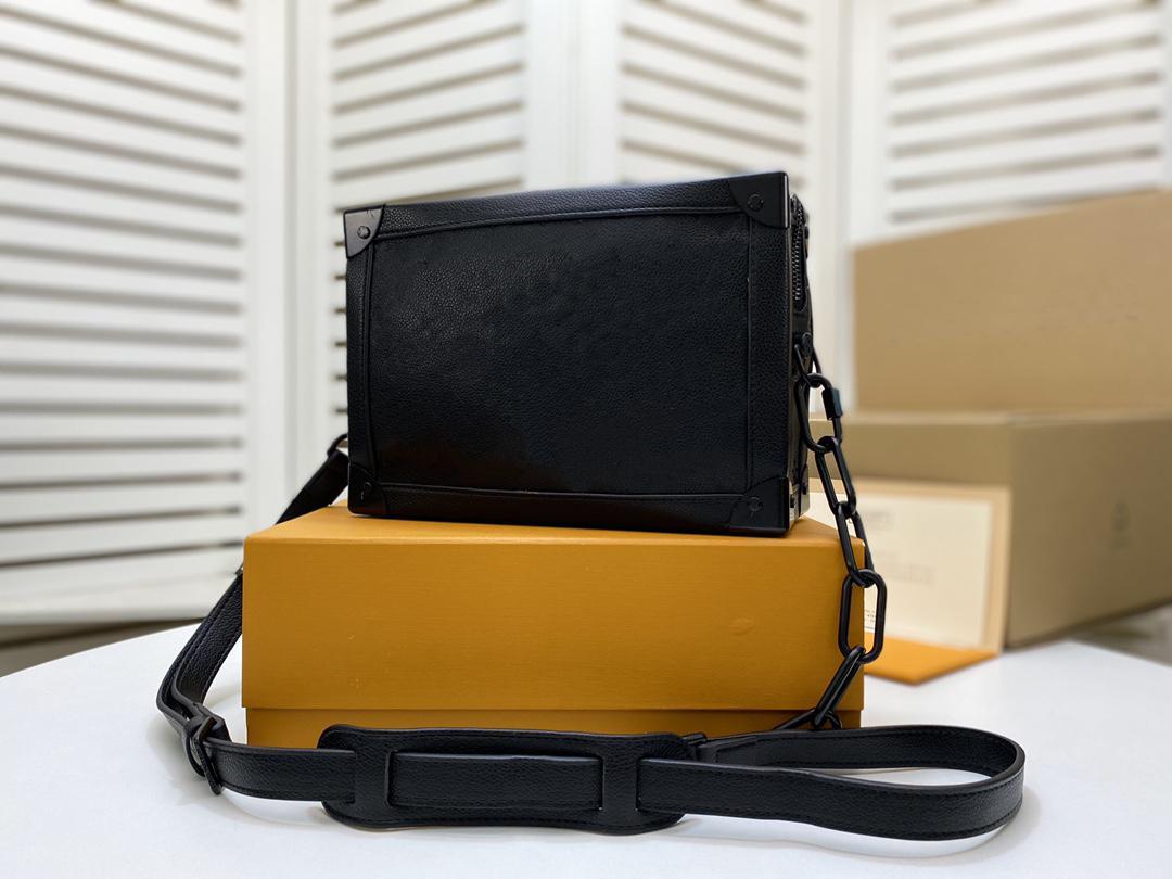 M55700 Lady Alta Qualidade Matte-Black Zipper Embossed Black Taurillon Leather Tronco Saco Macio Bolsas De Ombro Bolsas Crossbody Bags