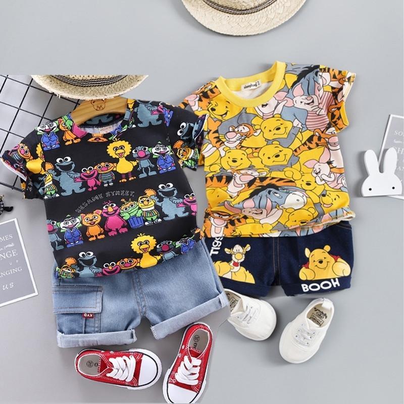 80-120cmcotton crianças meninos roupas crianças conjuntos de roupas de verão bebê roupas bonitos desenhos animados crianças conjuntos de crianças t-shirt calças denim y200803