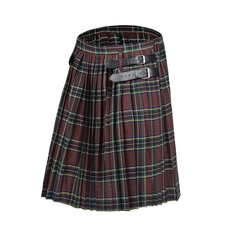 2020 Mens Kilt Traditional Plaid Belt Pleated Bilateral Chain Brown Gothic Punk Scottish Tartan Trousers Q1107