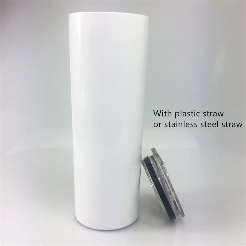 20 узкий тощий тумблеры пустые сублимация тонкая чашка прямой чашки кофе кружки с крышкой и пластиковой соломинкой пивные кружки морские доставки FY4275