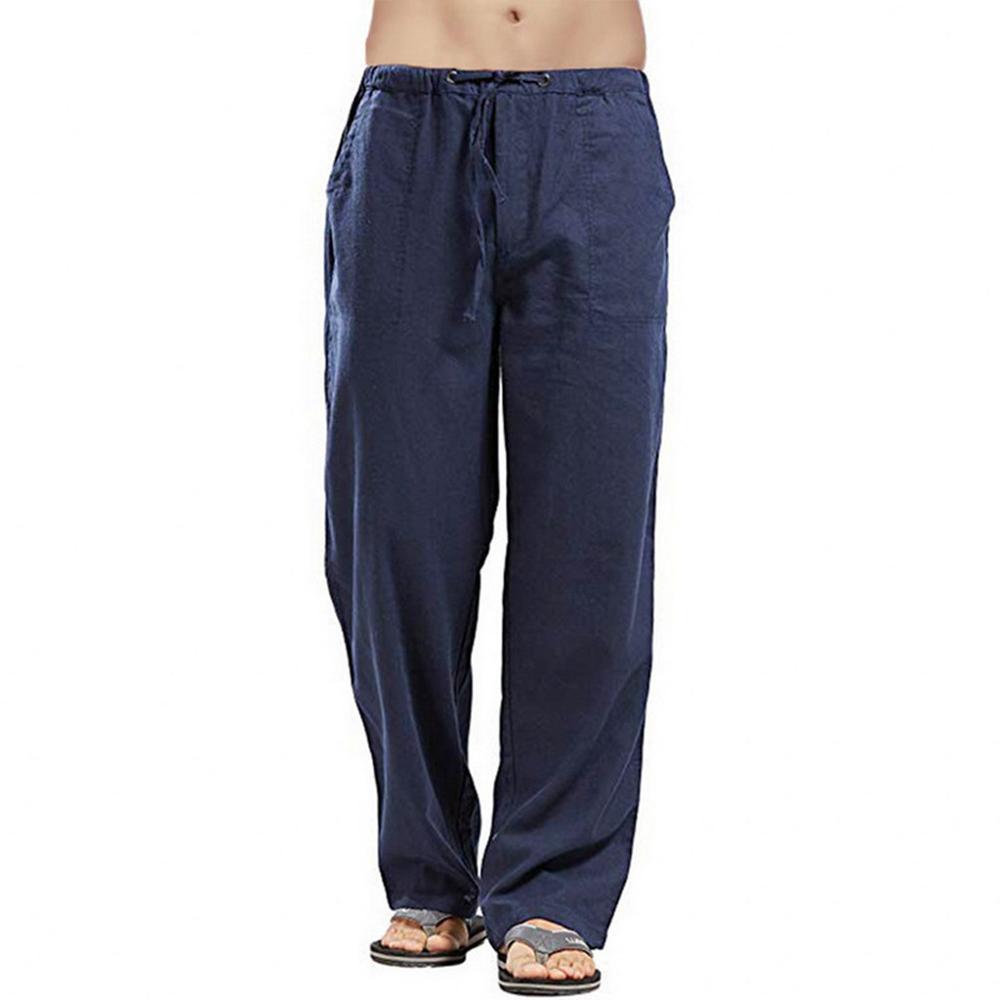 Pantalones hombres algodón pantalones pantalones joggers casual sólido cintura elástica recto suelto deportes pantalones corriendo pantalones más tamaño para hombre ropa