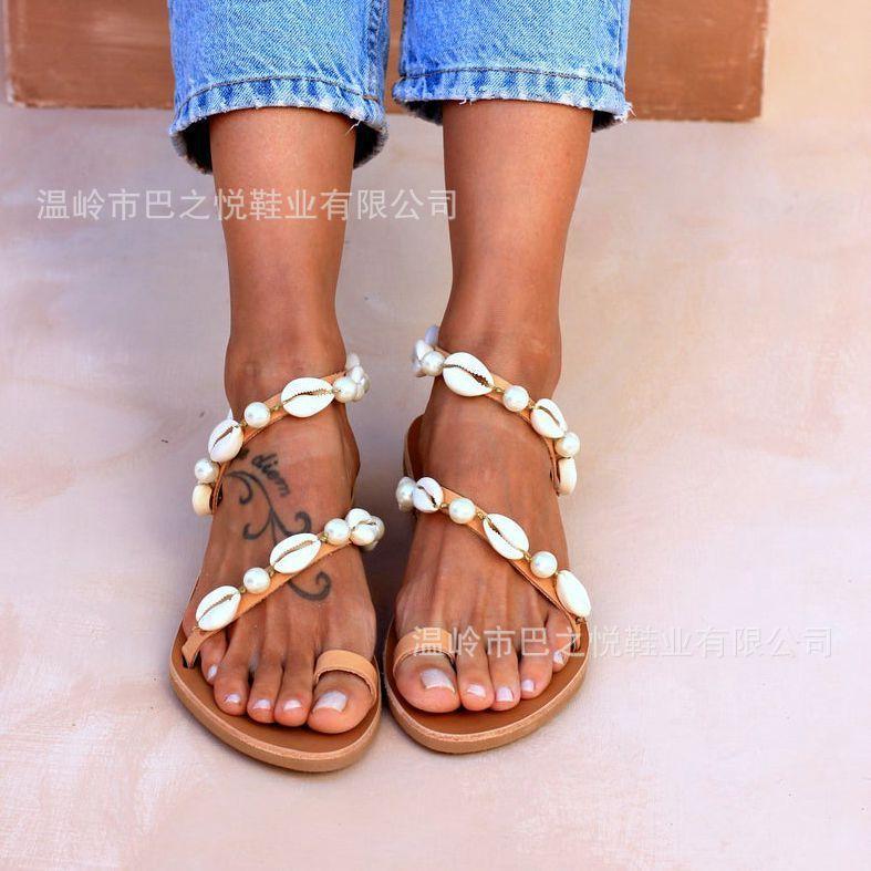 Grande taille nouvelle sandales plates occasionnels chaîne de perles shell style national féminin dame
