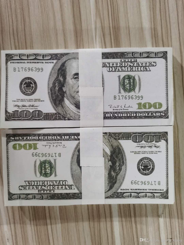 Dollar EURO MONEY USD FAIS BANKNOTE 100 Jouer de l'argent Normal BankNote Taille des enfants Creative Money-255 Cadeau de film DCTAW