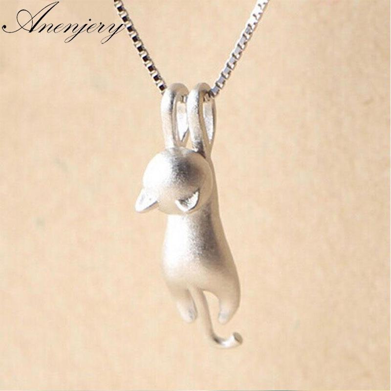 Kadınlar gerdanlık Collares S-N166 için Anenjery 925 Gümüş Kolye Sevimli Kedi Hayvan PendantsNecklaces