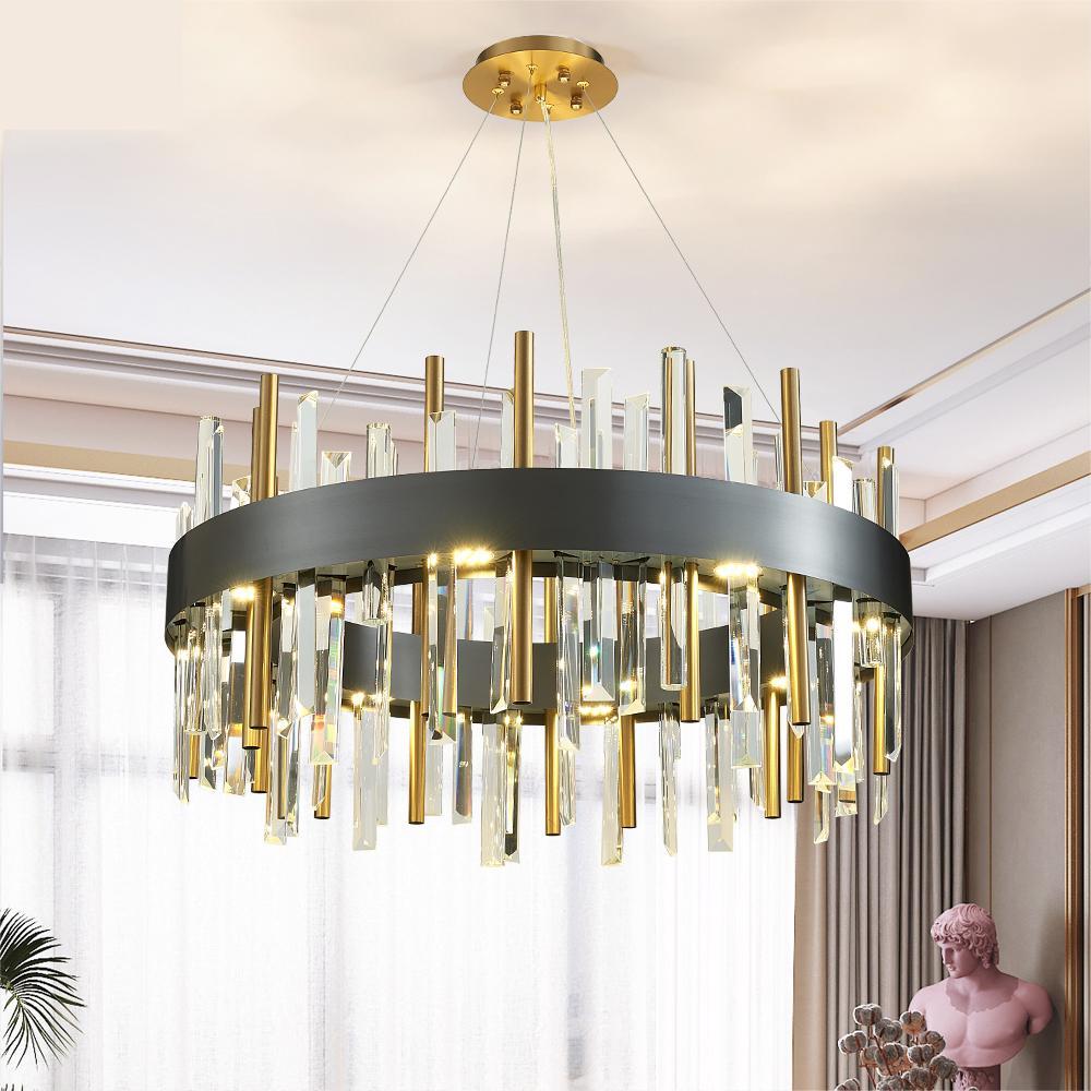 Un nouvel éclairage de lustre moderne pour le salon autour des luminaires en cristal d'or / noir salle à manger chambre conduit luminaires cristal