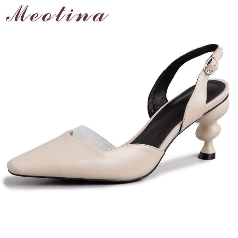 Topuklu Kadınlar Doğal Hakiki Garip Stil Pompalar Yüksek Topuk Slingbacks İnek Deri Toka Ayakkabı Lady 42210