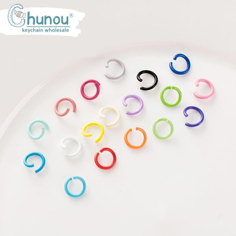 100PCS / Lot 1.2 * 8mm Candy vernice spray la fabbricazione dei monili Metallo Aperto loop singoli anelli di salto Split Ring Per portachiavi portachiavi fai da te