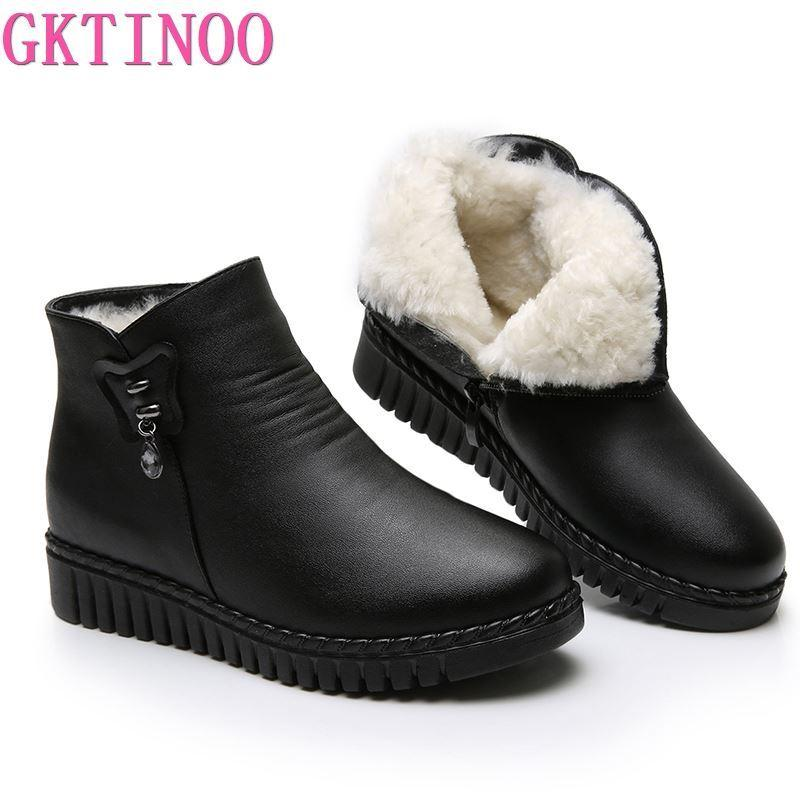 GKTINOO 2020 Women Snow Boots Winter Flat Heels Ankle Boots Women Warm Platform Shoes Leather Thick Fur Booties C1023