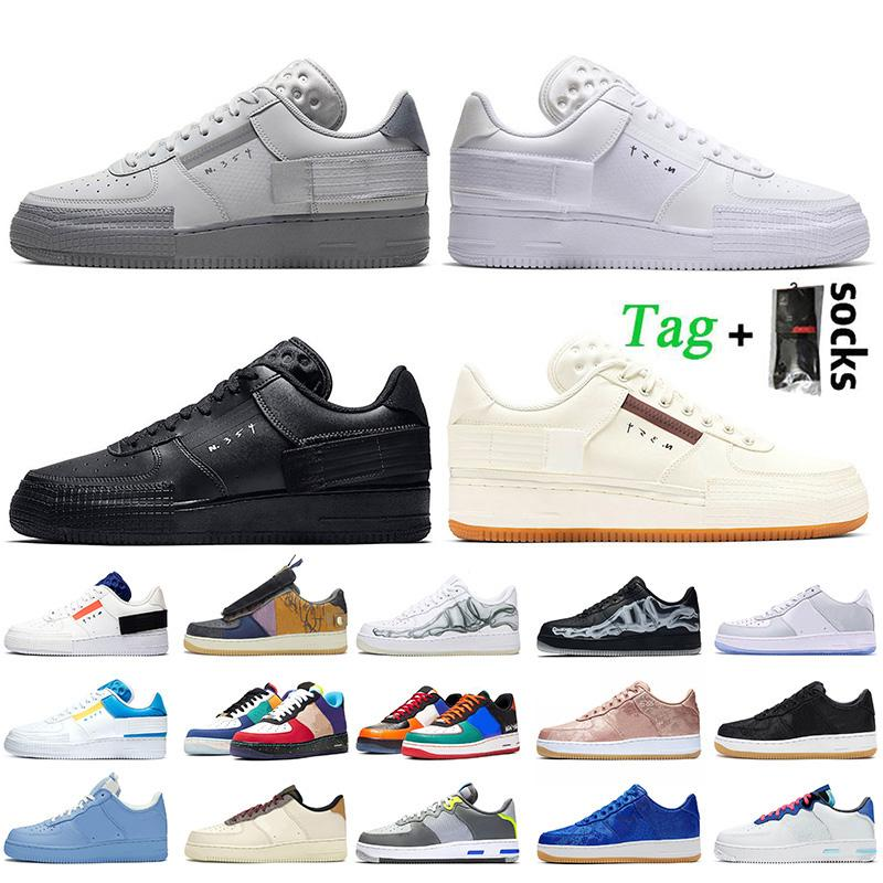 Nike Air Force 1 Travis Scott N354 Off White منخفض أعلى جودة النساء أحذية رجالي الاحذية دونك 1 N354 غراي الضباب whte أسود قبالة المدربين Airforce 1 أحذية رياضية
