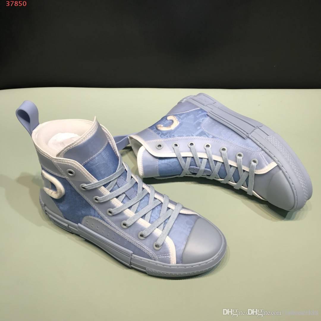 2020 Nouveaux B23 HIGH Baskets montantes OBLIQUE Mens Designer Shoes Casual lettres transparentes Hommes Femmes Haute aide Chaussures de toile avec boîte TAILLE US5-12