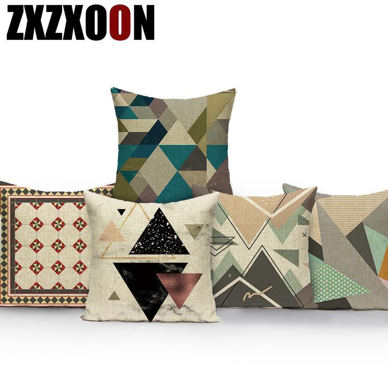 Coussin de coton Coussins décoratifs Mandala Coussin d'oreiller carré géométrique Coussin de coussin pour la décoration de salon Taie d'oreiller