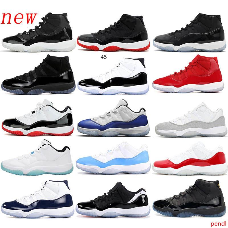 25 Aniversario 11 11s mujeres de los hombres zapatos de baloncesto bajo WMNS Concord 45 leyenda de plata azul metálico CaspACE Jam P y zapatillas de deporte vestido