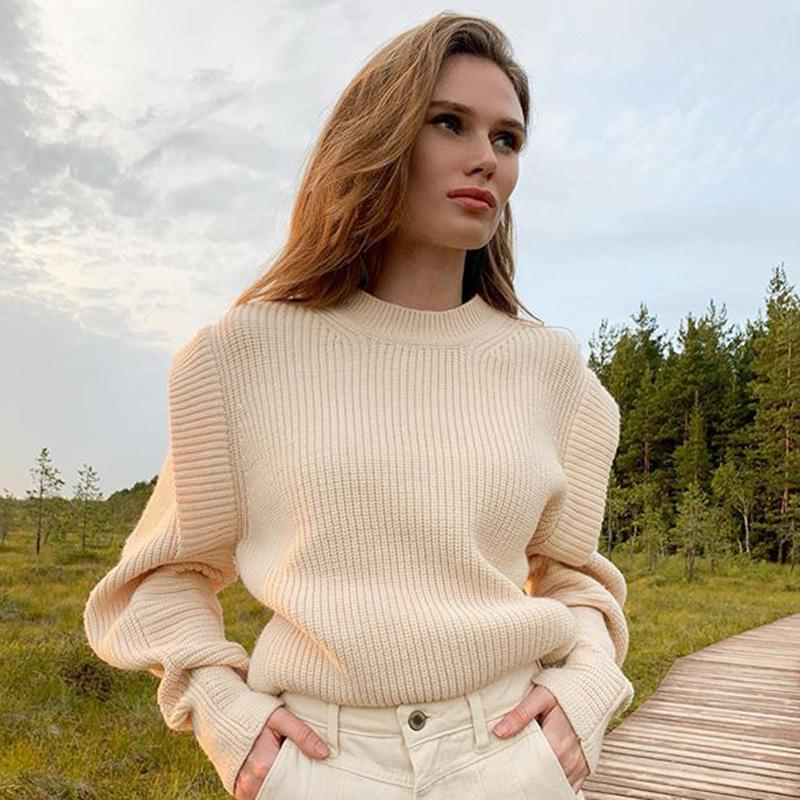 Malina Fashion Autumn Winter Casual Loose O Neck Sweaters Women Elegant Solid Sweater Women Long Sleeve Sweaters Ladies