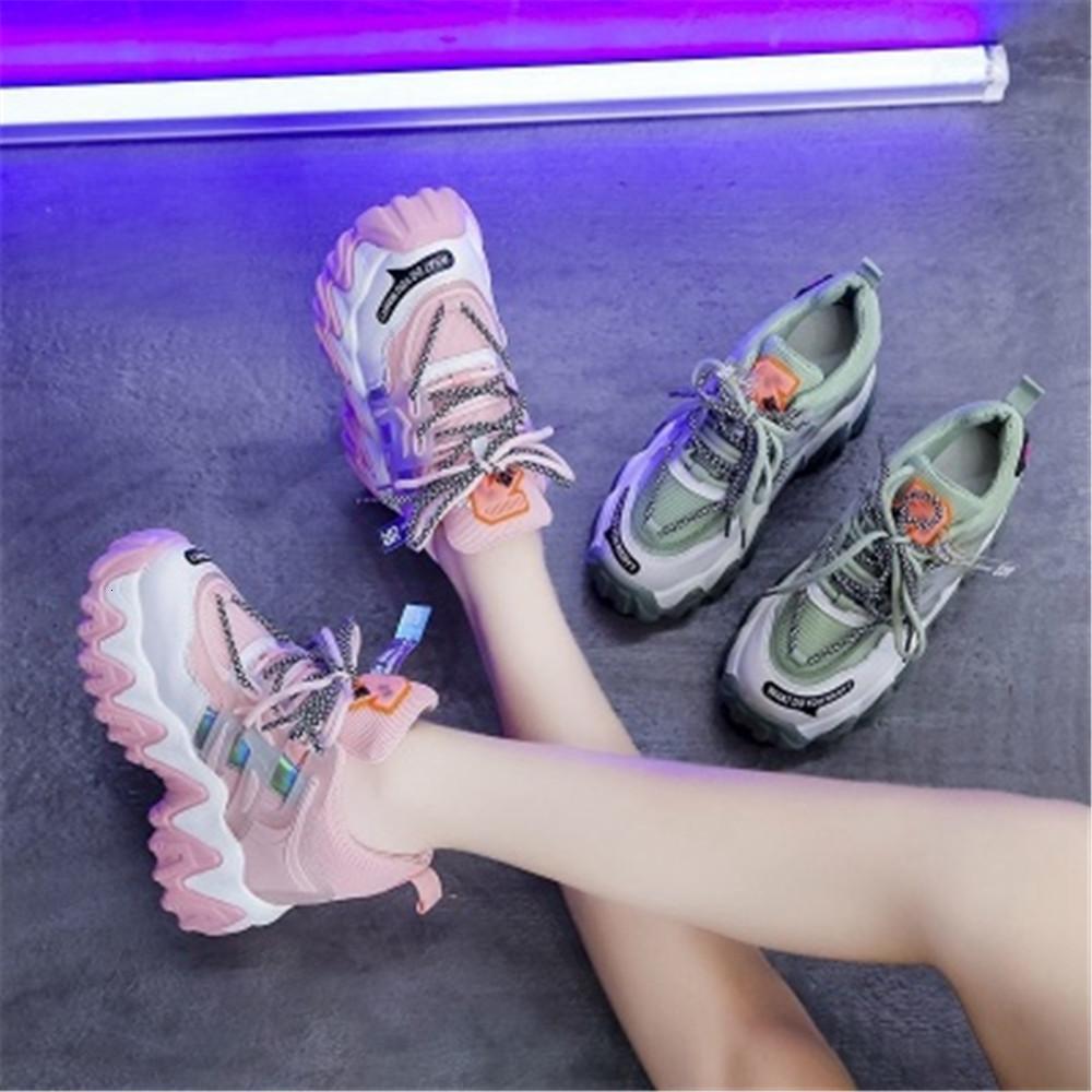 Дизайнер 2021 Новые женские моды женские кружевные толстые желтые туфли DJHC