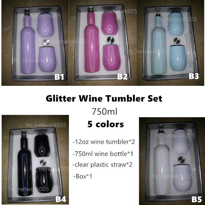 750ml Sublimazione Sublimazione Glitter Vino Tumbler Set Bottiglie di vino in acciaio inox con due bicchieri da 12 once di vino Best regalo Souvenir Set Set Sea Trasporto marittimo