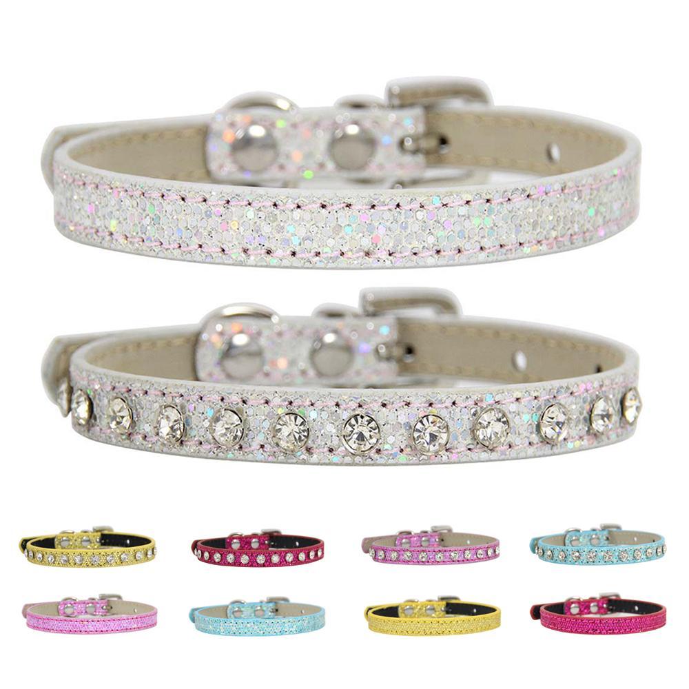 Collier d'animal de compagnie réglable rose avec strass chats chiens chiens collier cuir décoration de diamant chien de diamant de luxe pour animaux de compagnie petits chiens