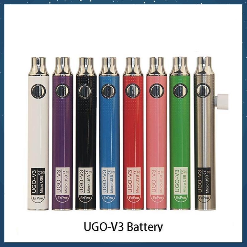 Authentic Ugo v III V3 650 900mAh EGO EGO 510 Bateria 8Colores Micro USB Baterias Vape Vape Vs Spinner 3S Thread Battery