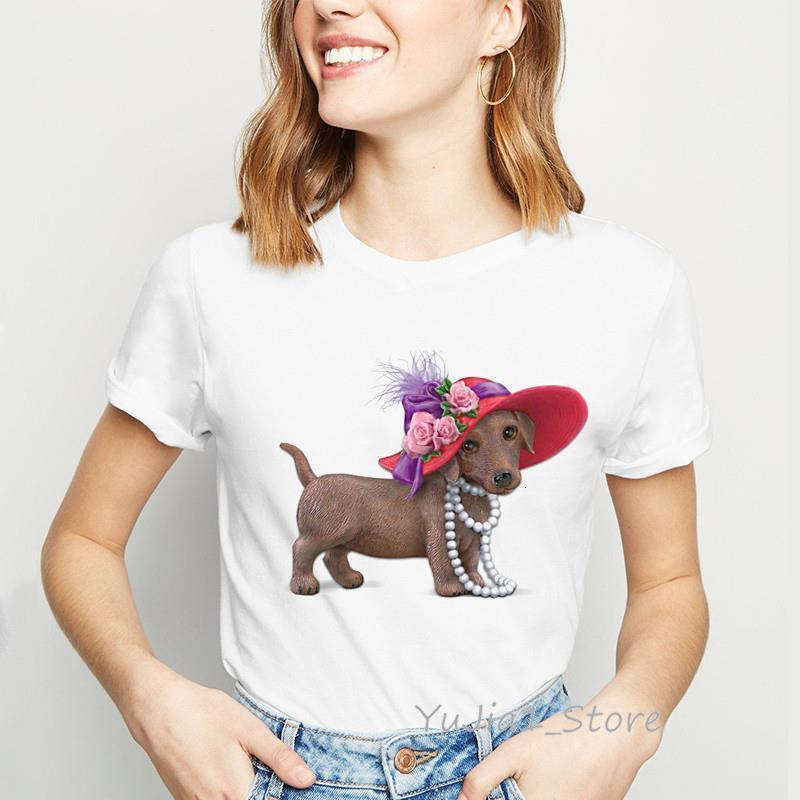 Симпатичная такса с красной шляпой Смешная рубашка Женщины Harajuku Kawaii Tshirt Собака Любовница Топ Женщина Одежда Tee Рубашка Femme Streetwear