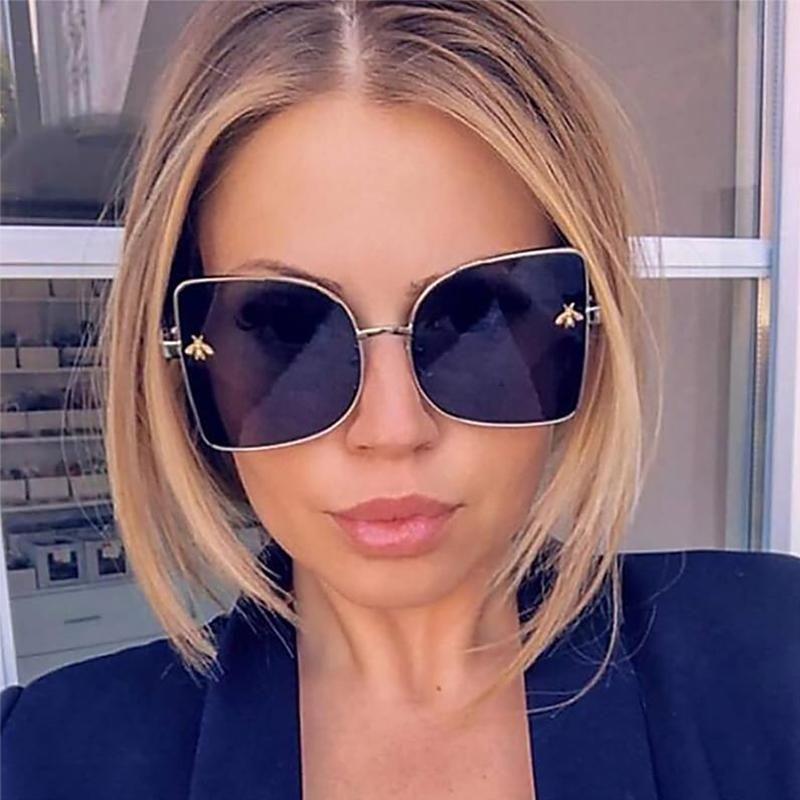 Vintage 2020 Qualité Noire Lunettes de soleil Noire High Square Lens Shades pour lunettes de soleil Gradient Femme Femmes Vidéex