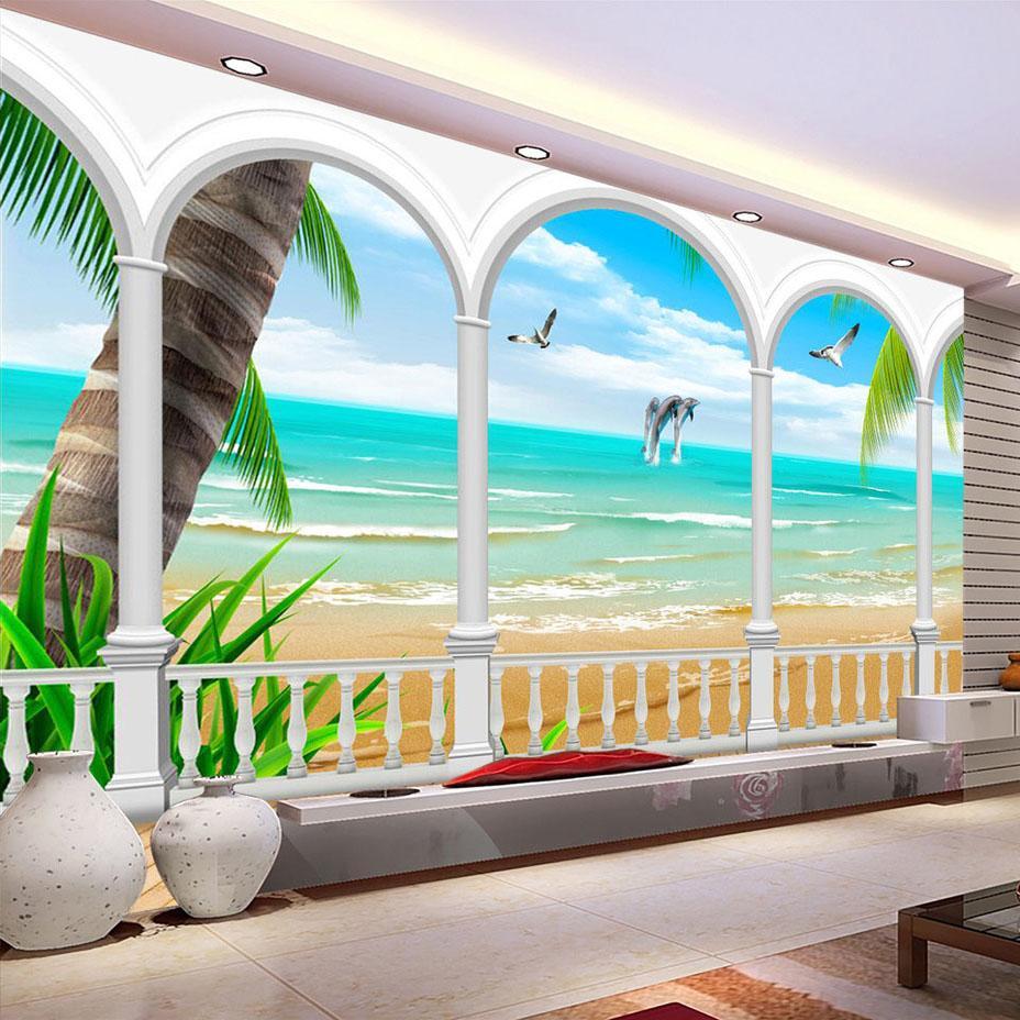 Coluna Papel de parede do Mural Foto Seaview Roman parede Decoração Sala Quarto Background Sofa TV 3D Modern