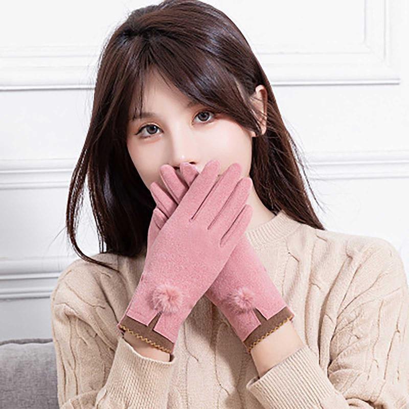 Трикотажные перчатки женщины зима плюс 2021 теплые перчатки толстые замшевые на открытом воздухе