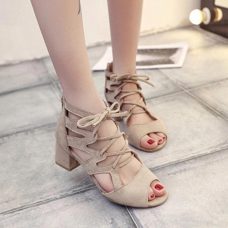 Женщины Летние Сандалии Высокое Качество Плюс Размер Женщина Средние каблуки Сексуальные Гладиаторные Обувь Обувь Fretwork Дольж Женские Пляжные Обувь Продвижение # IA6F