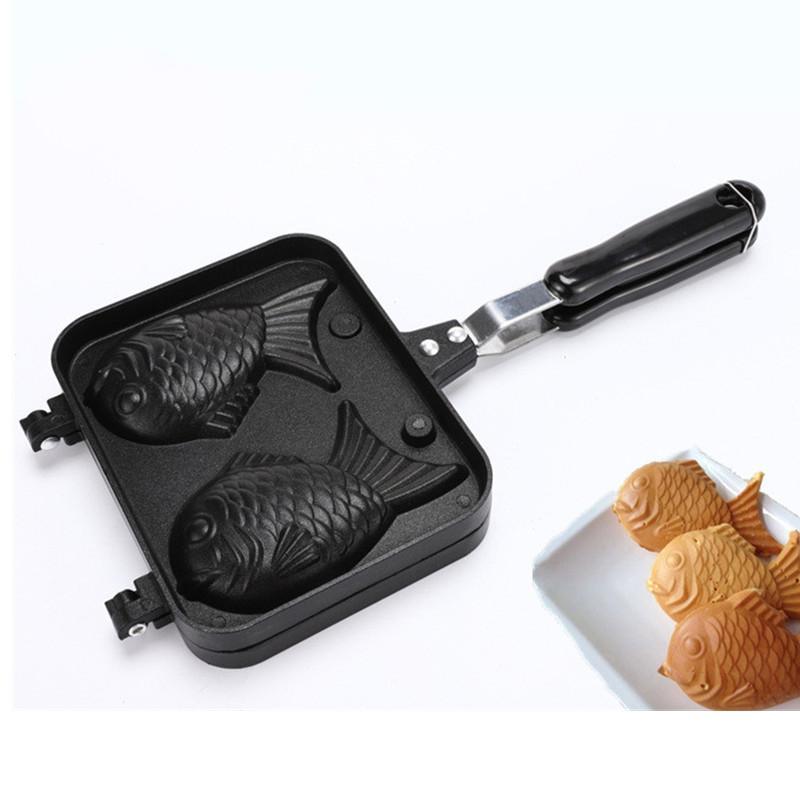 Taiyaki Japonais Poisson en forme de poisson de cuisson de cuisson de cuisson de cuisson 2 mouler à gâteau à gâteaux Outils de gâteau Cuisine Accessoires de cuisine Outils de cuisson