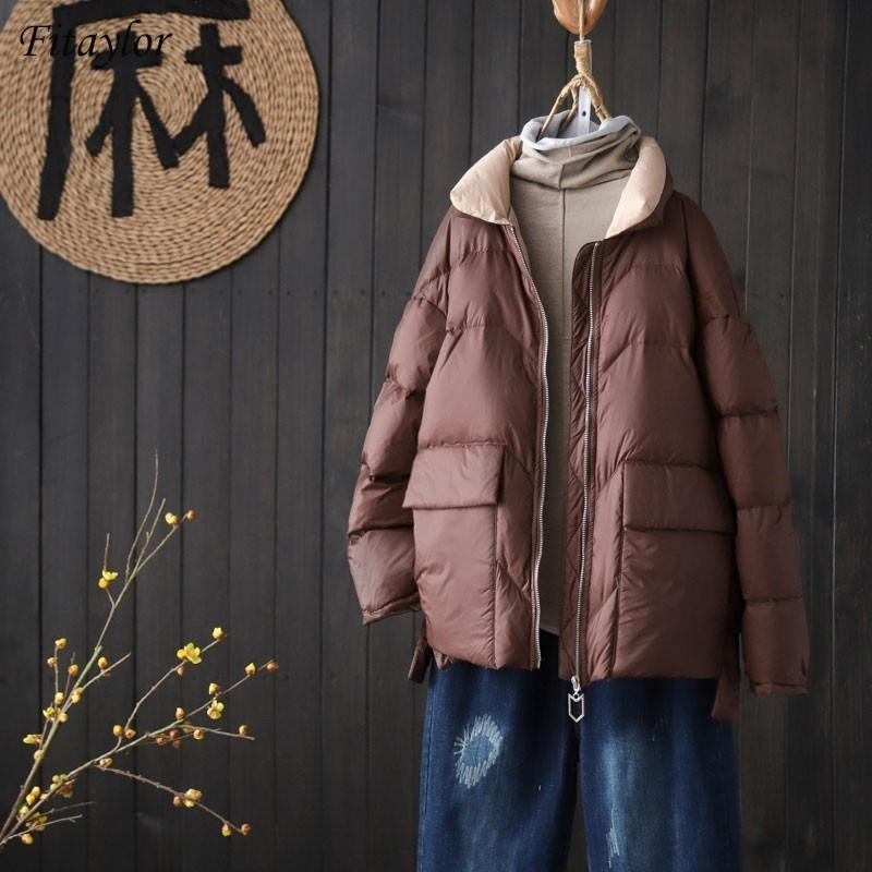 Fiaylor Winter Femmes Stand Collier Manteau Court Down Manteau 90% Blanc Can Duck Down Ultra Light Parkas Lâche Zipper à glissière Evervability Outwear 210202