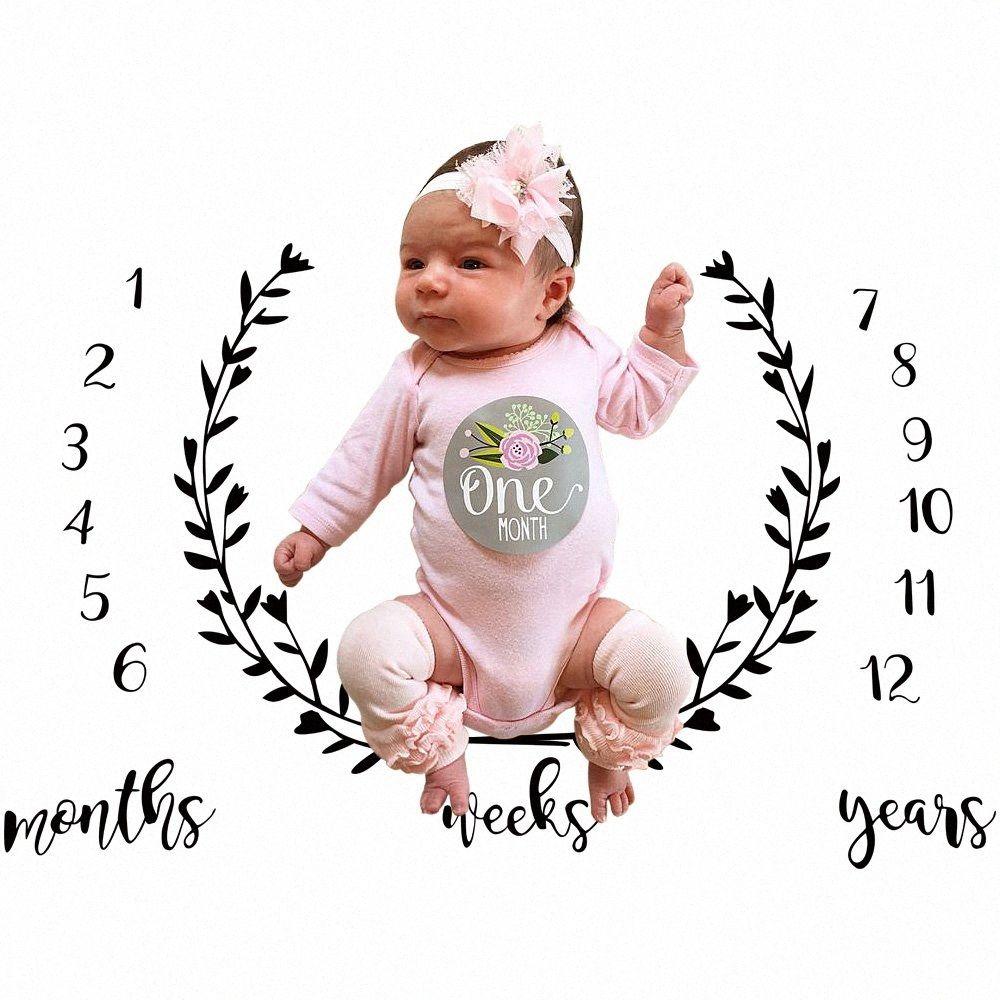 Младенец младенца Milestone Одеяло Фото Фото Опора Письмо Backdrop Ткань 100x1 Детские одеяла Сфотографируйте dobW #