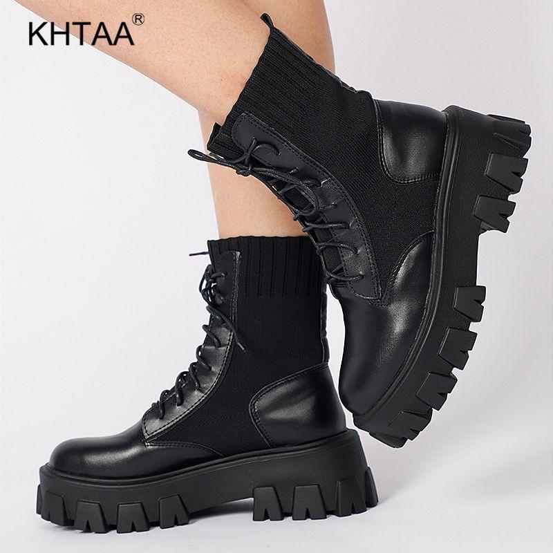 Femmes Armée Bottes Femme Bottes moto Sock Noir Chaussures Bottines Femme Plateforme Antiderapant Mode étanche Automne Hiver 201019