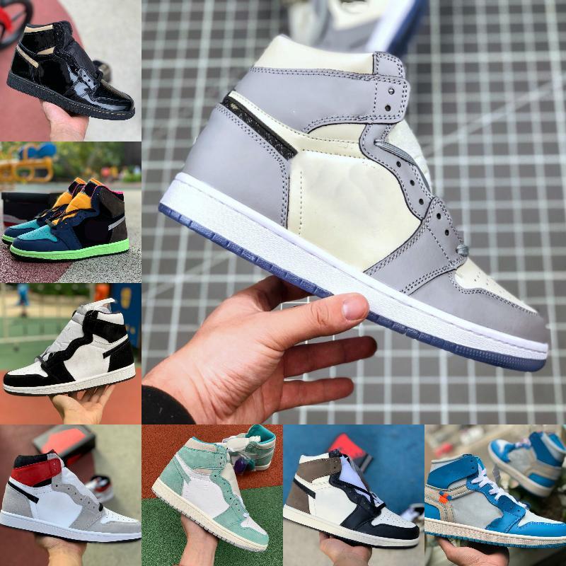 2021 Yeni 1 1s Basketbol ayakkabı erkekler Kadınlar Batik OG Bio Hack ampul Mavi UNC Patent Kırmızı Beyaz SİYAH KRALİYET TWIST Yeşil Burun MOCHA Tasarımcı