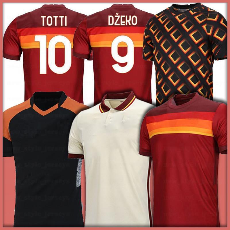 Totti Kids Soccer Jersey Rossi Dzeko Perotti Kluivert Zaniolo Hommes Maillot de Foot Shirt