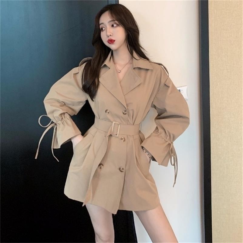 Casaco de trincheira de mangas compridas mulheres curtas novas coreanas soltas macacões soltas cintura 201102