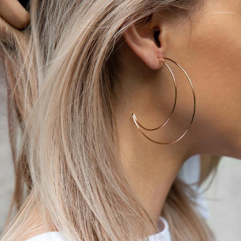 Boucle d'oreille de la lune creuse pour femmes Simple Moon Gold Classic Color Stoding Boucles d'oreilles Bijoux Boucle d'Oreille Boucles d'oreilles cadeaux de Noël1