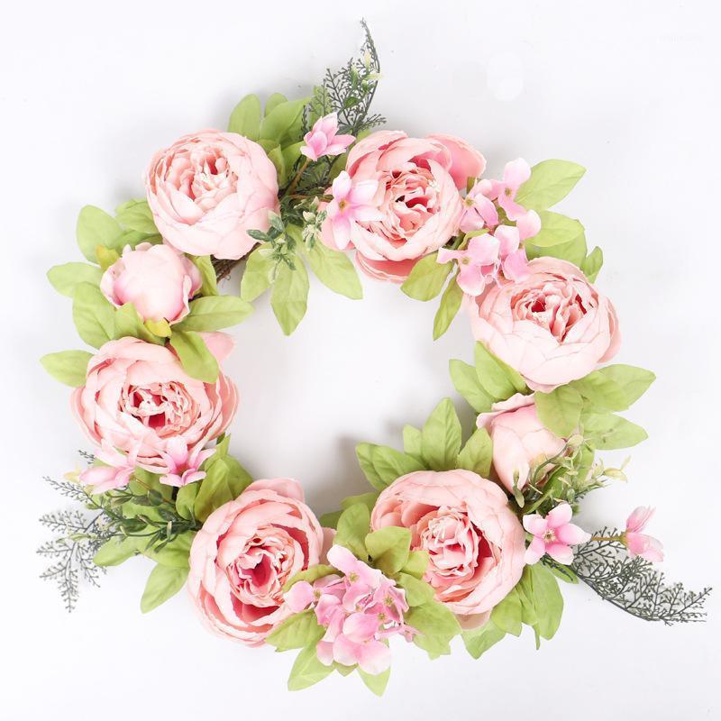 Искусственный цветок венок венок венок весна раунд для передней двери вечеринка свадьба дома декор розовый цветок гирлянды кольцо1