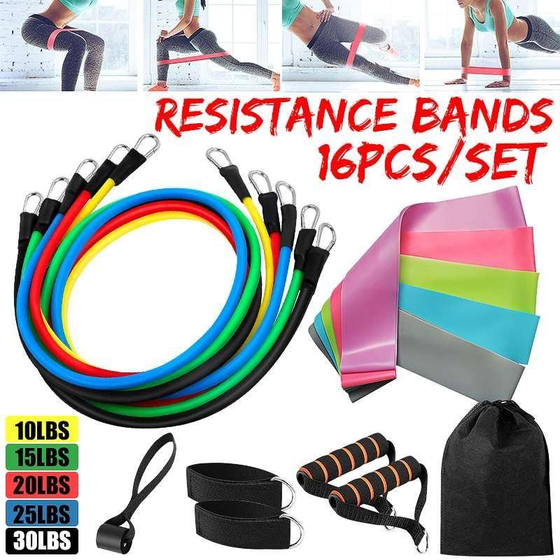 16pcs Résistance Tubelight Gym Fitness exercice entraînement lourd Poignées yoga bande élastique Résistance exercice bande Trainning