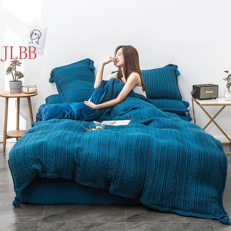 Conjunto de ropa de cama de tejer lana Cálido Hoja de invierno Piento de almohadaCaseduquet Set Crystal Flannel Fleece Pensar en ropa de cama Bola de cama Lino1