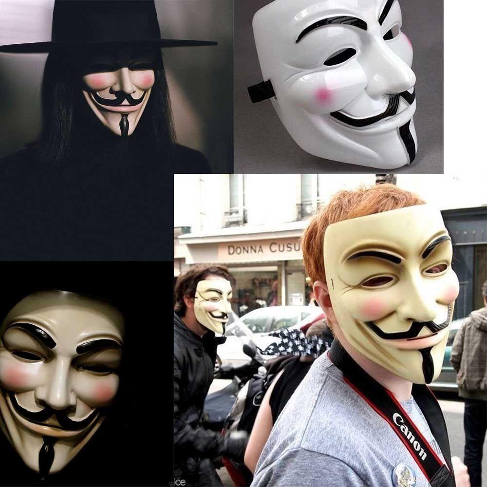 Máscaras Halloween V para trajes Máscara Vendetta Guy Fawkes anónimo Fancy Dress Cosplay Máscaras Masquerade Face Movie