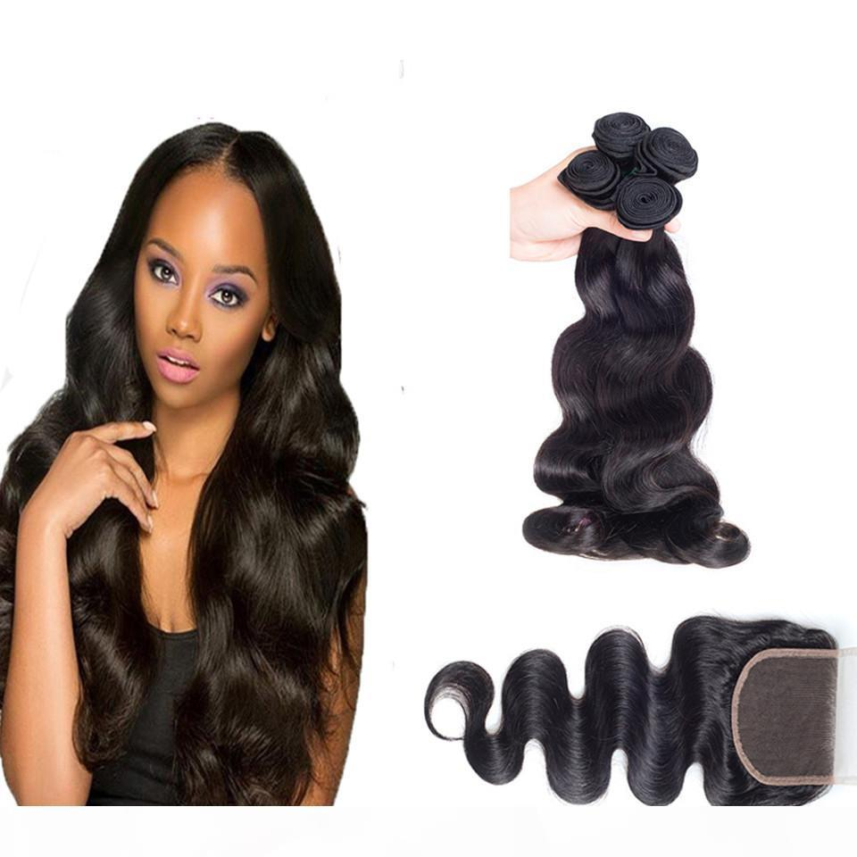 Unprocessed Malaysian Body Wave Lace Closure With Hair Bundles 4pcs Malaysian Virgin Hair With Closure Human Hair Weave Sale