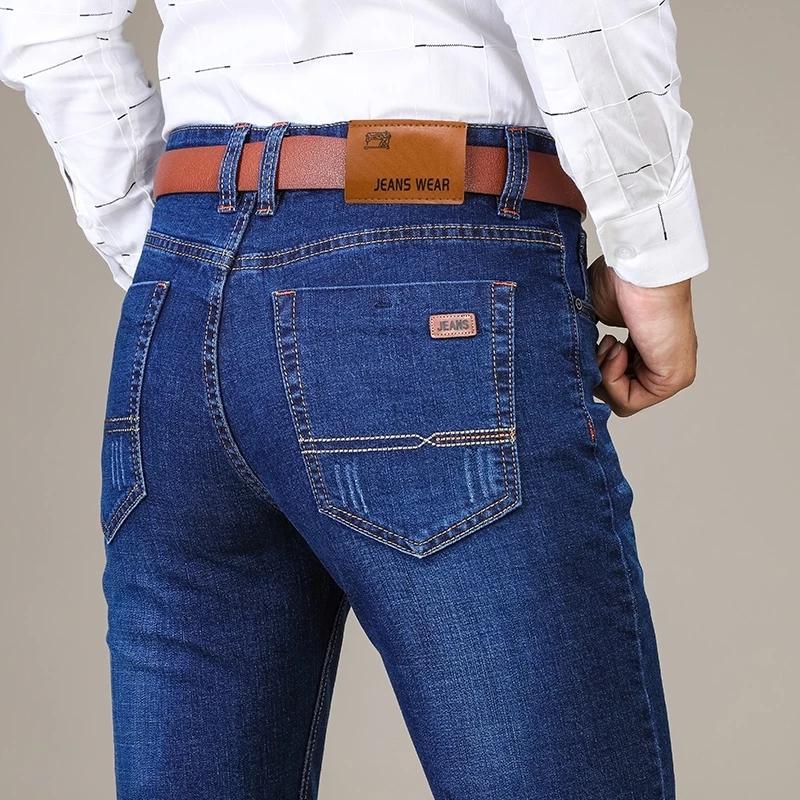 Мужская мода Бизнес Джинсы Классический Стиль Casual Stretch Тонкий Жан Брюки Мужской Марка Denim брюки черный синий