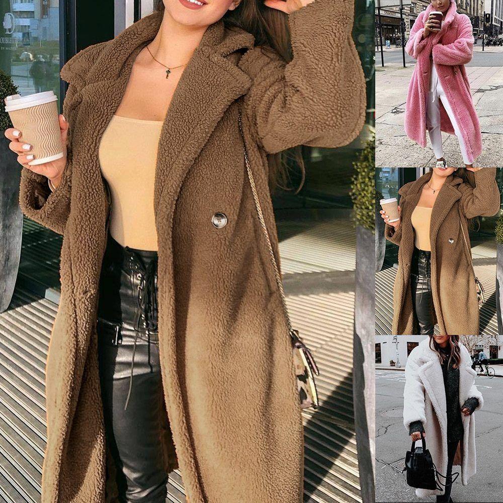 Urso Teddy Long rosa Jacket Casaco de Inverno 2020 Grosso Quente Oversized Chunky Casacos Overcoat Mulheres Faux Lambswool casacos de pele