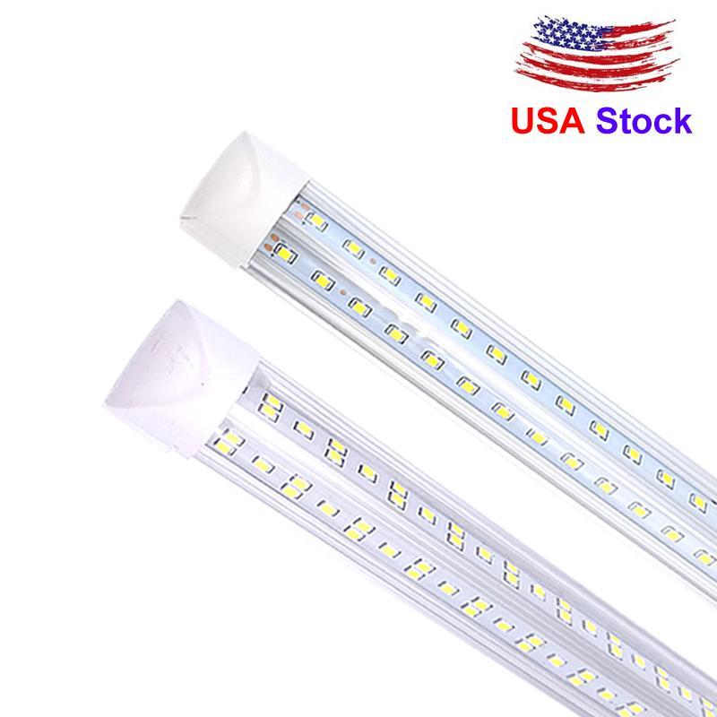 Stock In US + Led Tubes Light V-Shaped 270 Angle design light UL DLC LED T8 6000 lumens 72W 8ft 2.4m Cooler Door Integrated T8