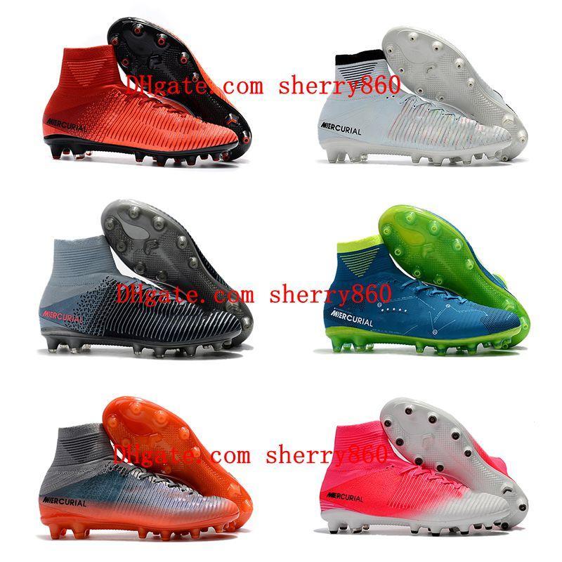 2020 Top Quality Mens Soccer Shoes Mercurial Superfly V AG Futebol Cleaves Ao Ar Livre Botas de Futebol Cr7 Neymar Ronaldo Scarpe Calcio 002
