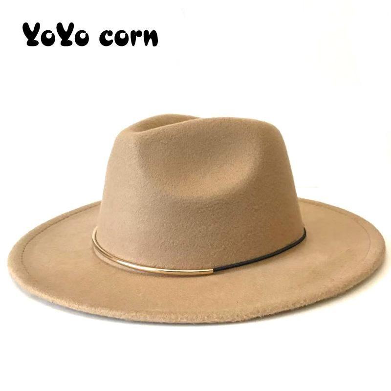 YOYOCORN European American Rodada Cap Bowler Chapéus Feminino Gorra Outono Imitação de lã Mulheres Homens Senhoras Fedoras Top Jazz Hat