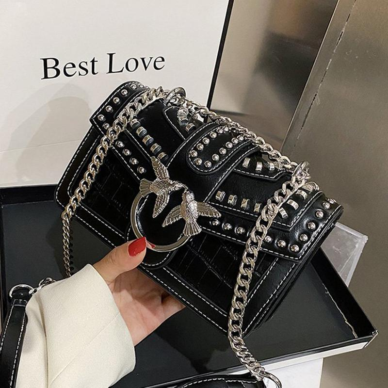 Swallow Sequined Crossbody Bag for Women 2020 New Fashion Rivet Shoulder Bags Lady Purses and Handbags Wallet on Chain Cc Q1220