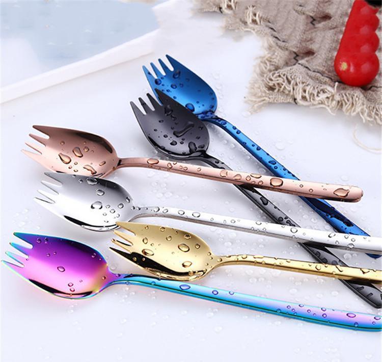 Spork multifonctions 2 en 1 Silverware Spoon Cuillère en acier inoxydable de couleur 304 Fourchette d'or Nouille Manger Sqcaann PP2006