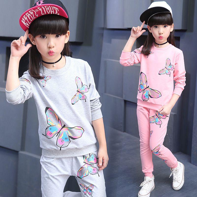 Otoño de los bebés niños ocasional juego de ropa Trajes de la mariposa Camisa de manga larga + pantalones deportes de la manera embroma sistemas de la ropa 201027