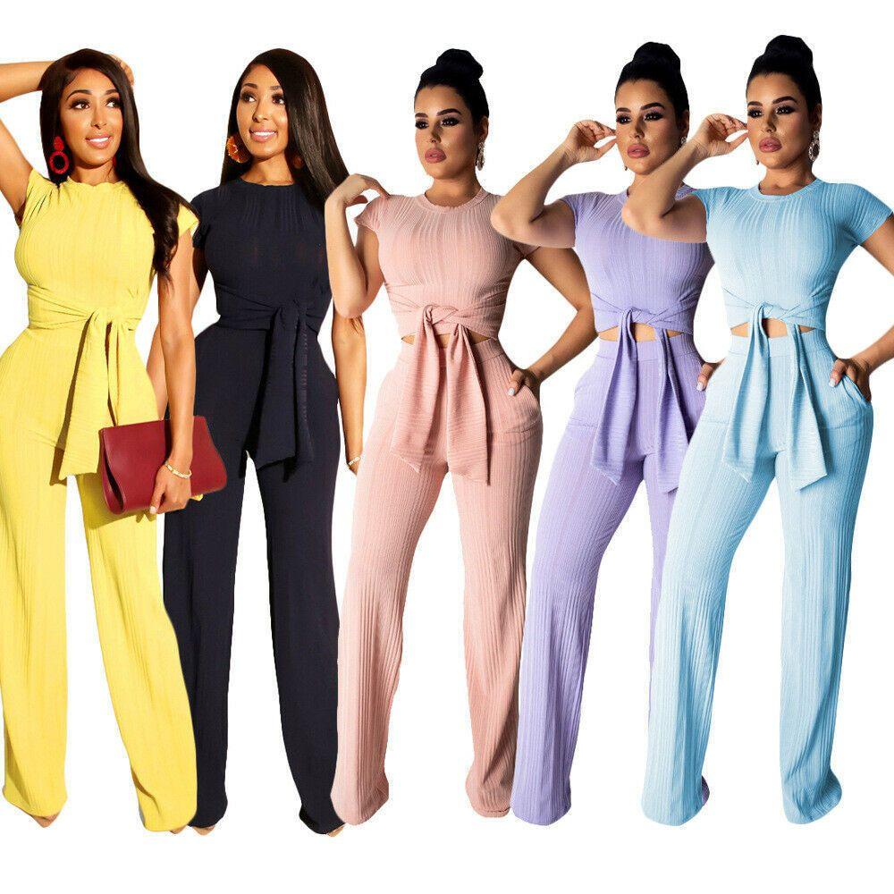 Yeni Kadın 2 Parça Katı Renk Kravat Yukarı Cepler Kıyafetler Kısa Kollu Kırpma Üst Yüksek Bel Düz Pantolon Set Ince Rahat Yaz LJ201123