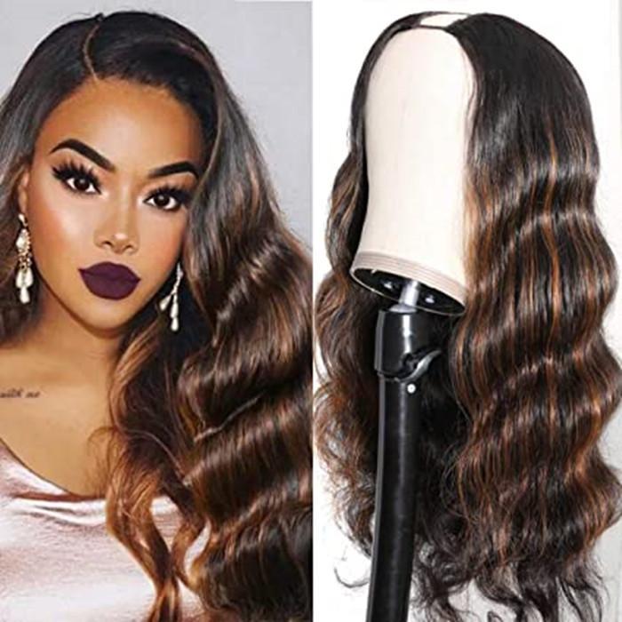 T30 Ombre colorato U Parte parrucca onda del corpo umano parrucche capelli per le donne, capelli umani brasiliani mezza testa parrucca piena 150% Densità